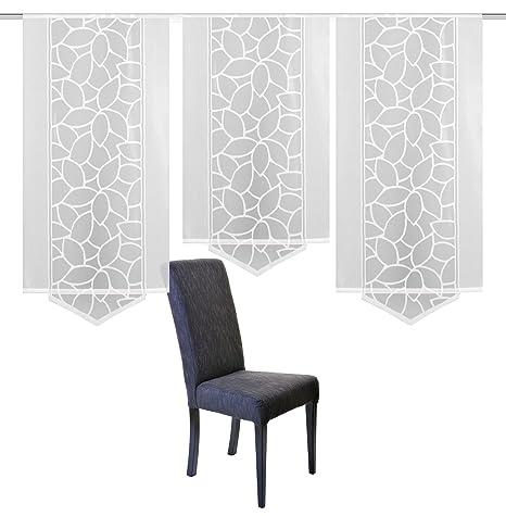 Home Fashion Schiebevorhang Jacquard Set, Stoff, weiß, 160 x 57 cm, 3-Einheiten