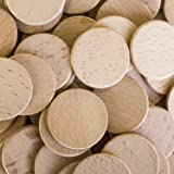 "Round Unfinished 1.5"" Wood Cutout Circles Chips for Arts & Crafts Projects, Board Game Pieces, Ornaments (100 Pieces)"