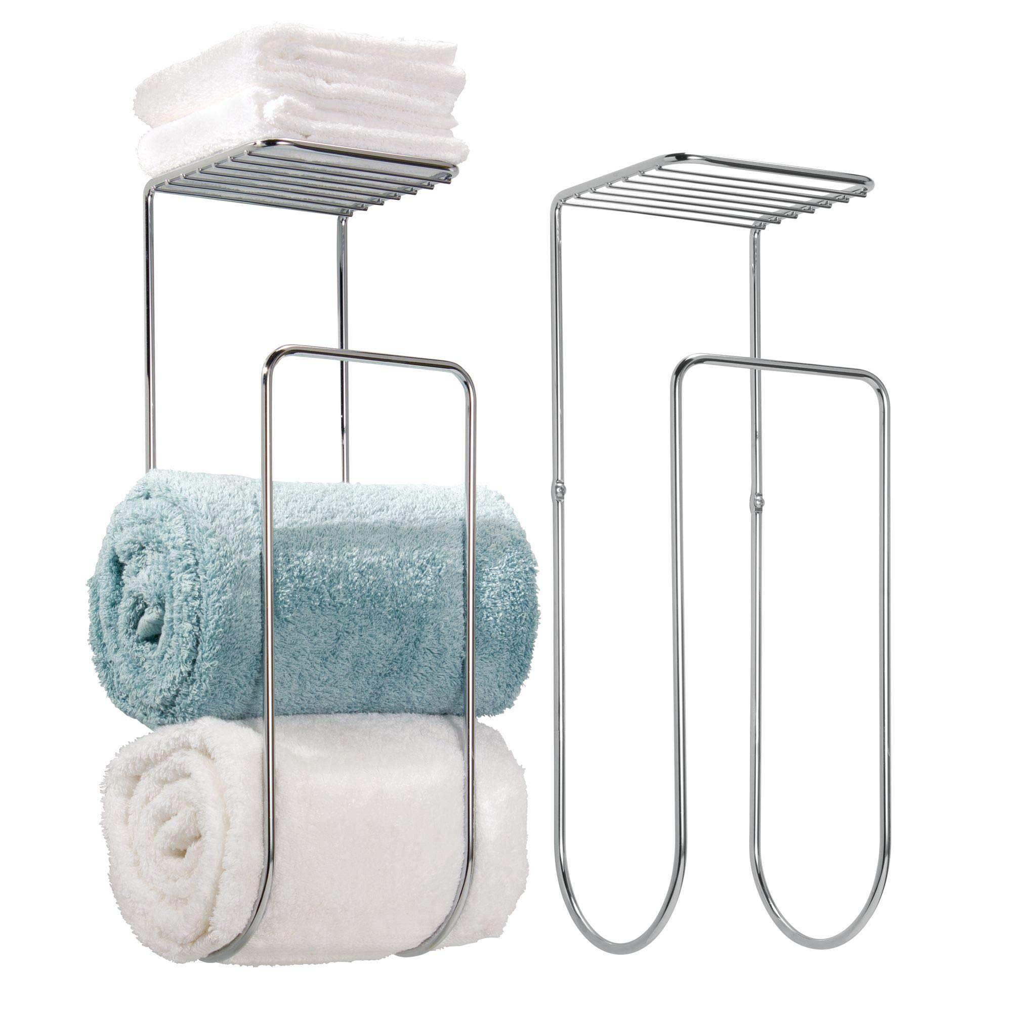 mDesign Modern Metal Wall Mount Towel Rack Holder and Organizer with Storage Shelf for Bathroom Organizing of Washcloths, Hand/Face or Bath Towels, Beach Towels - 2 Pack, Chrome