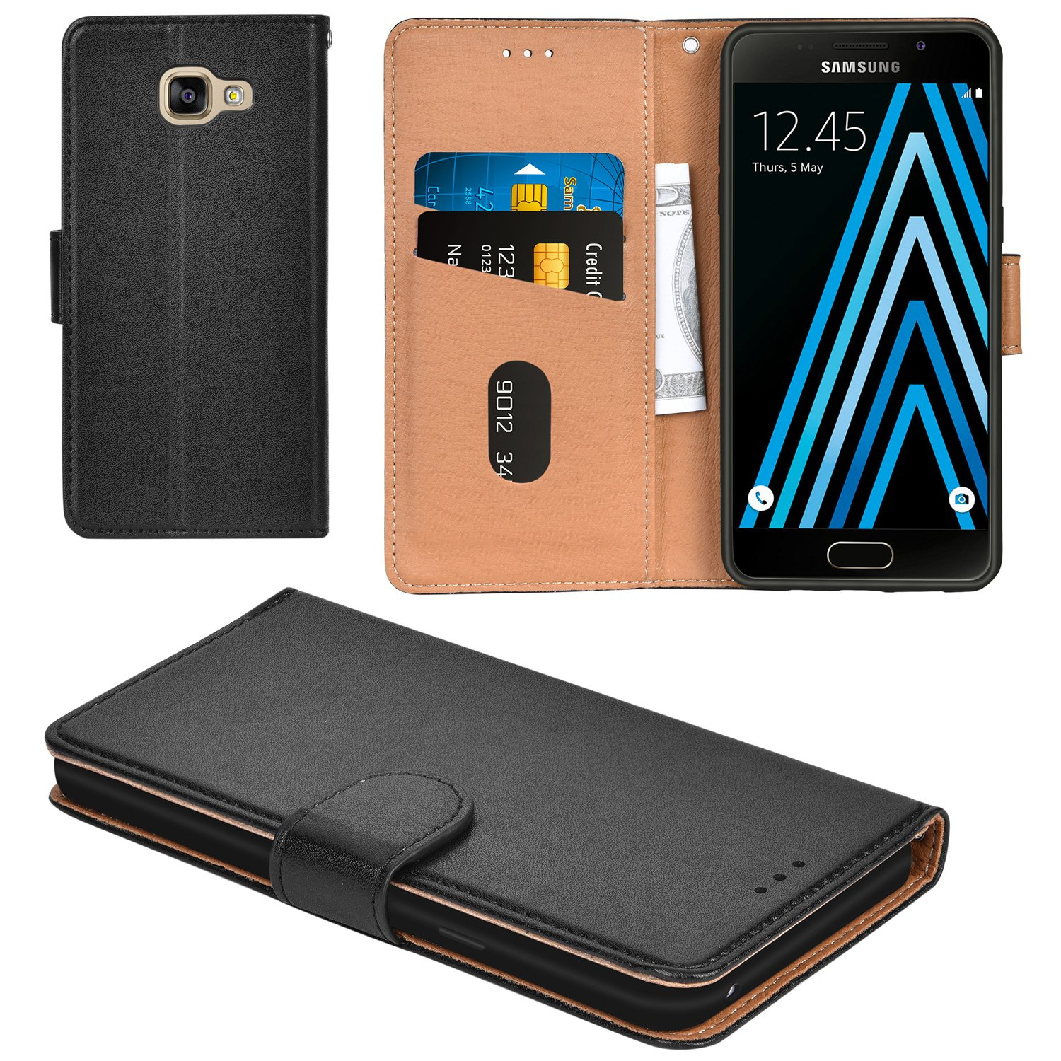 outlet store 8397b 28743 Galaxy A3 2016 Case, Aicoco Flip Cover Leather, Phone Wallet Case for  Samsung Galaxy A3 2016 - Black