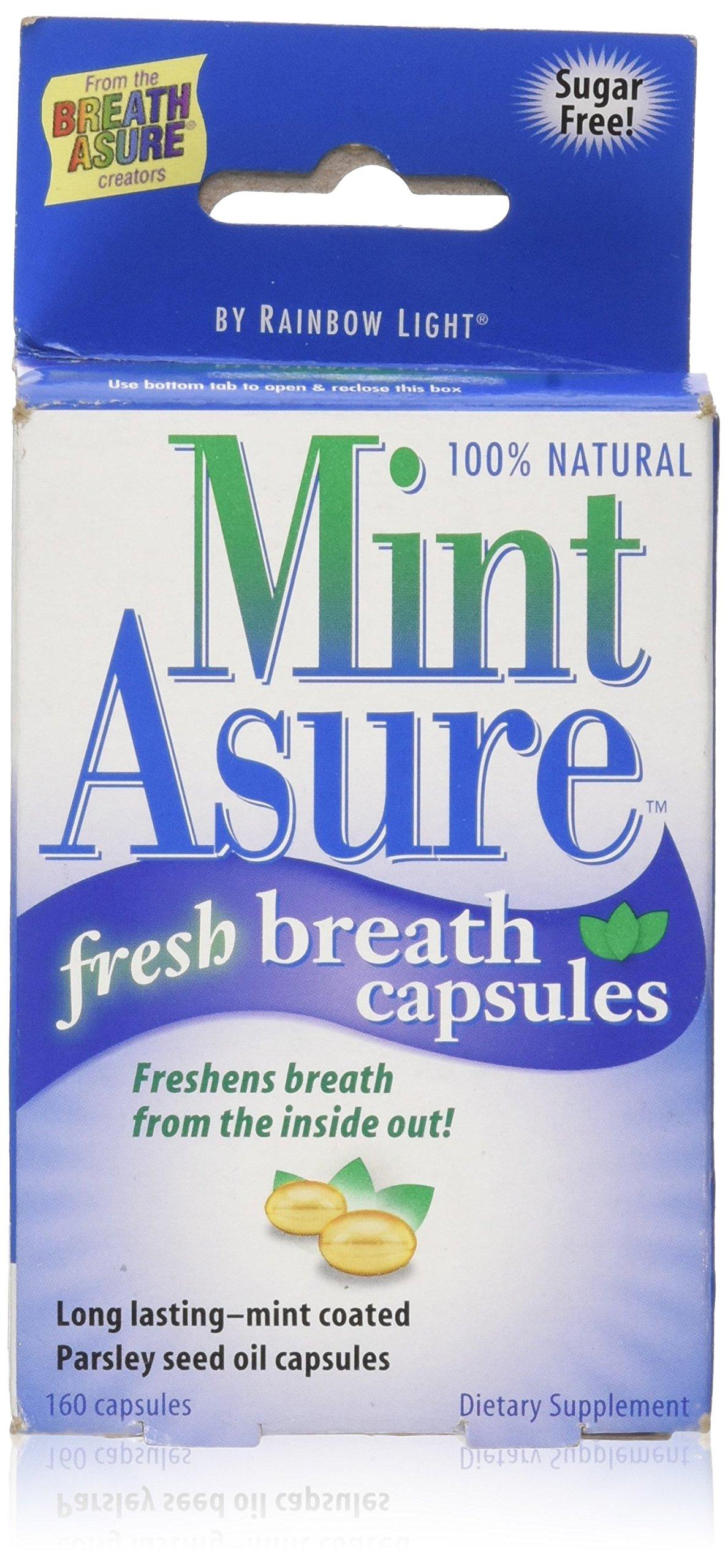 Rainbow Light - MintAsure Fresh Breath Capsules, 160 Count, Internal Breath Freshener