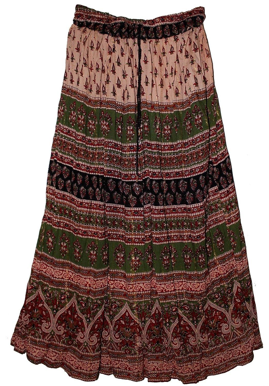 Fashion Of India FOI Rayon Wrinkle Hippy Lurex Skirt Retro ...