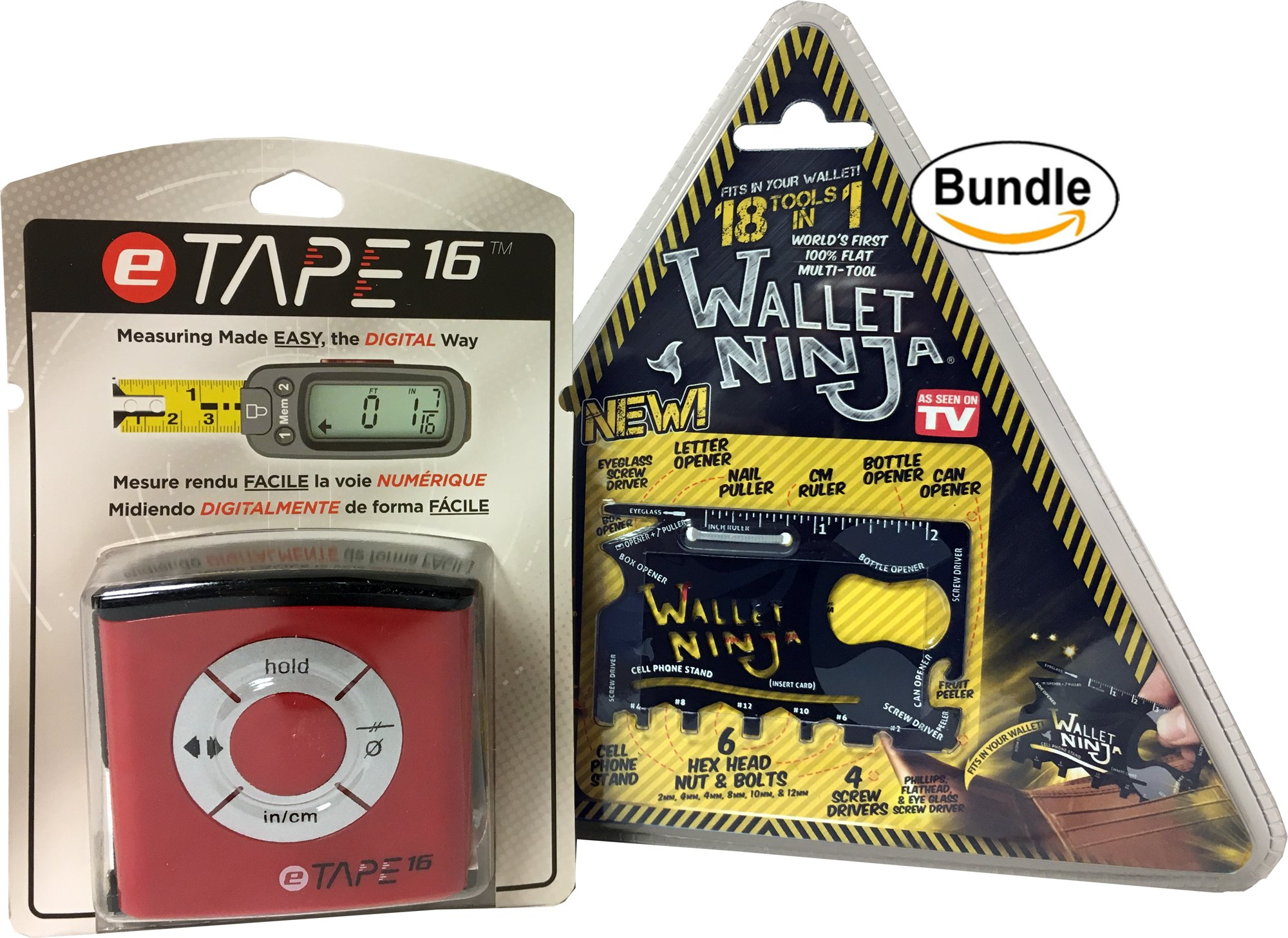 eTape16 ET16.75-DB-RP Digital Tape Measure, 16', Red, Inch and Metric & Authentic Wallet Ninja 18 in 1 Multi-purpose Credit Card Size Pocket Tool (Bundle)