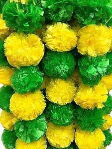 DECORATION CRAFT Artificial Marigold Flower Garlands 5 Feet Long (Green and Yellow, 5)