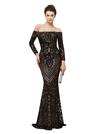 CuteShe Womens Black Sequins Evening Dresses Mermaid Long Prom Formal Gowns Off Shouder with Sleeves at Amazon Womens Clothing store: