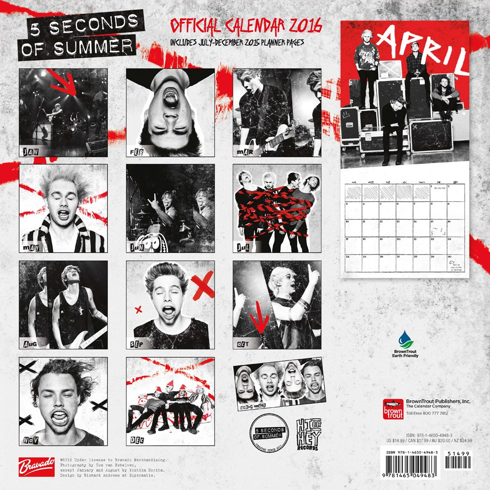 5sos poster design - 5 Seconds Of Summer 2016 Square 12x12 Bravado Browntrout Publishers 9781465049483 Amazon Com Books