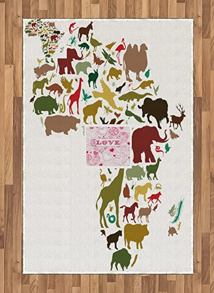 Map Of Africa Equator.Amazon Com Lunarable Africa Area Rug African Continent Map With