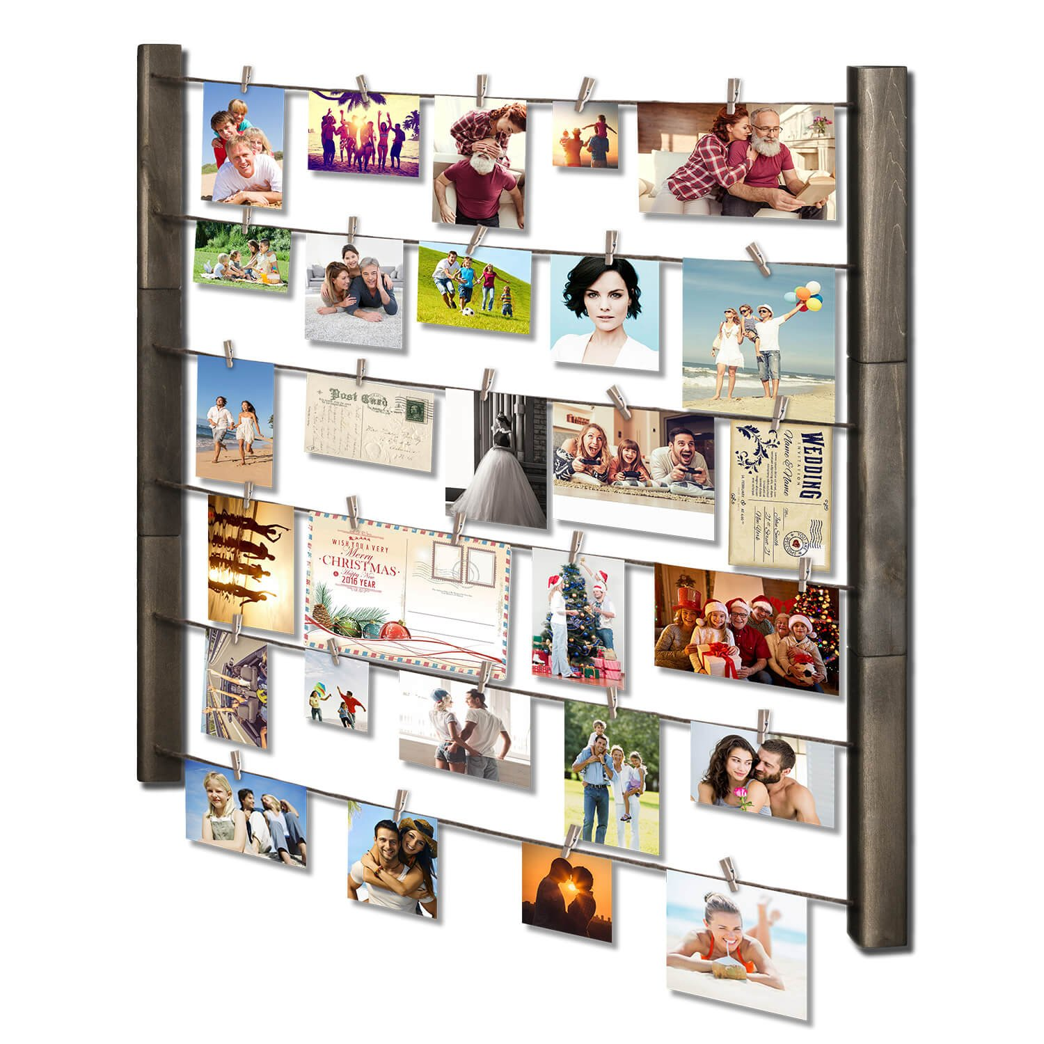 RooLee Picture Frame - Wood Picture Frame Collage for Wall Decor - Multi Photo Display 30'' x 26'' with 36 Clips - Vertical or Horizontal Display(Grey)