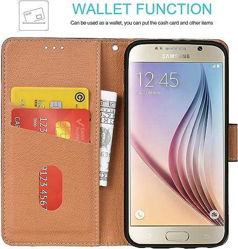 Coque Galaxy S6, Aicoco Housse à rabat en cuir, téléphone Portefeuille Coque pour Samsung Galaxy S6, Black