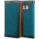 """Samsung Galaxy S8 5,5"""" Leder Hülle Flip Case Handytasche und Brieftasche mit Standfunktion Kredit Karten Fach mit Unsichtbarem Magnet,Grün"""