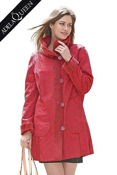 Adelaqueen ¡Limpieza Abrigo de Ante sintético para Mujer con Estampado Floral: Amazon.es: Ropa y accesorios