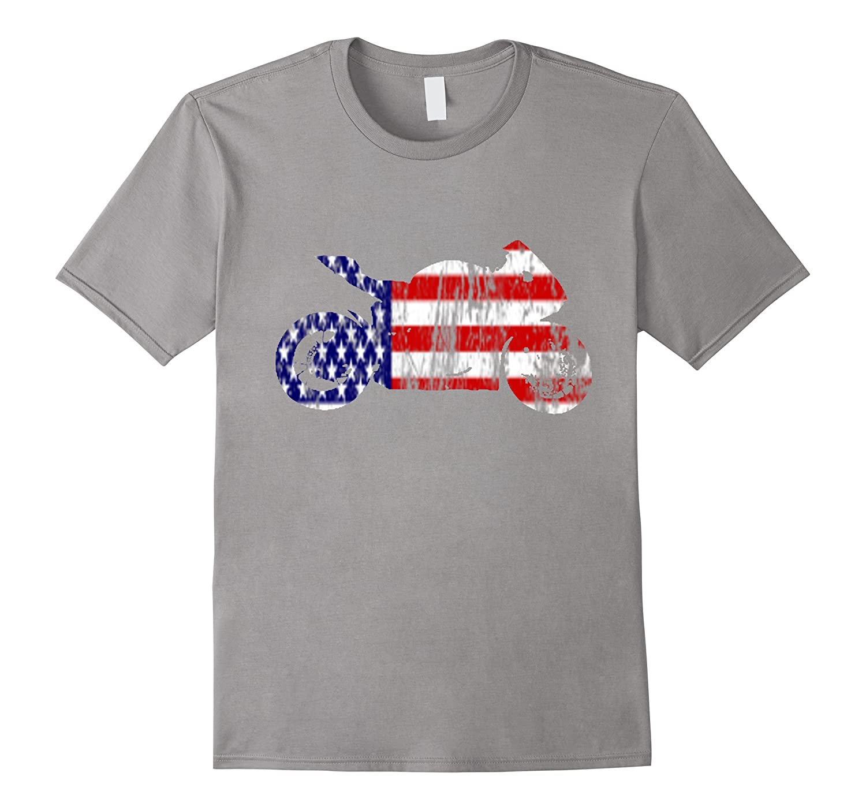 American Flag Motorcycle USA Sports Bike Distressed T-shirt-TH