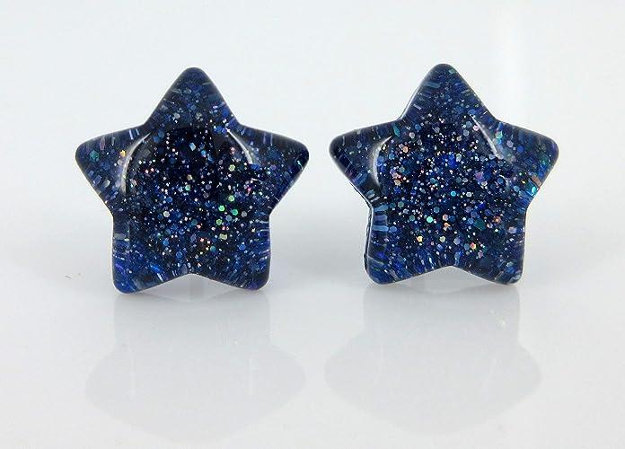 bec558318 Amazon.com: Dark Royal Blue Star Shaped Glitter Glass Galaxy Stud ...