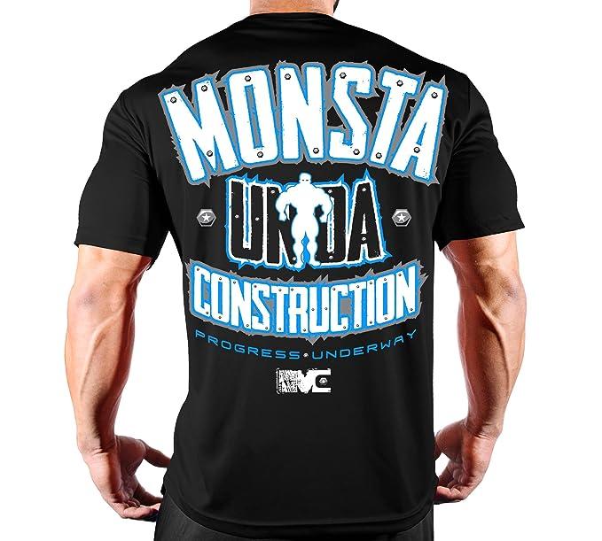 07159201007b Monsta Clothing Co. Men's Bodybuilding Workout (Unda Construction) Gym  T-Shirt