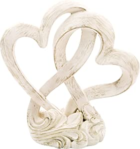 FashionCraft Vintage Style Double Heart Design Cake Topper/Centerpiece, One Size, Cream