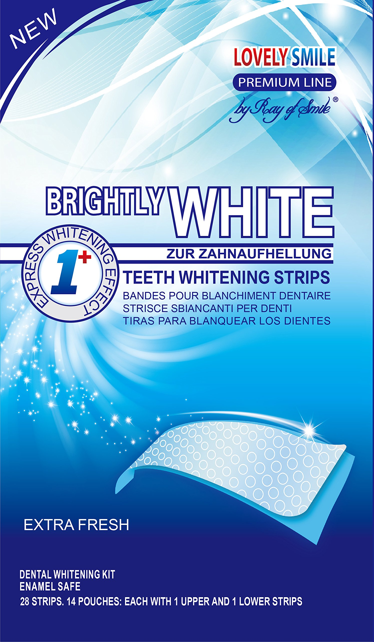 Lovely Smile | 28 WHITE-STRIPS Teeth whitening strips - Advanced NO-SLIP TECHNOLOGY - Professional Teeth Whitening Kit - Premium Line by Ray of Smile® product image
