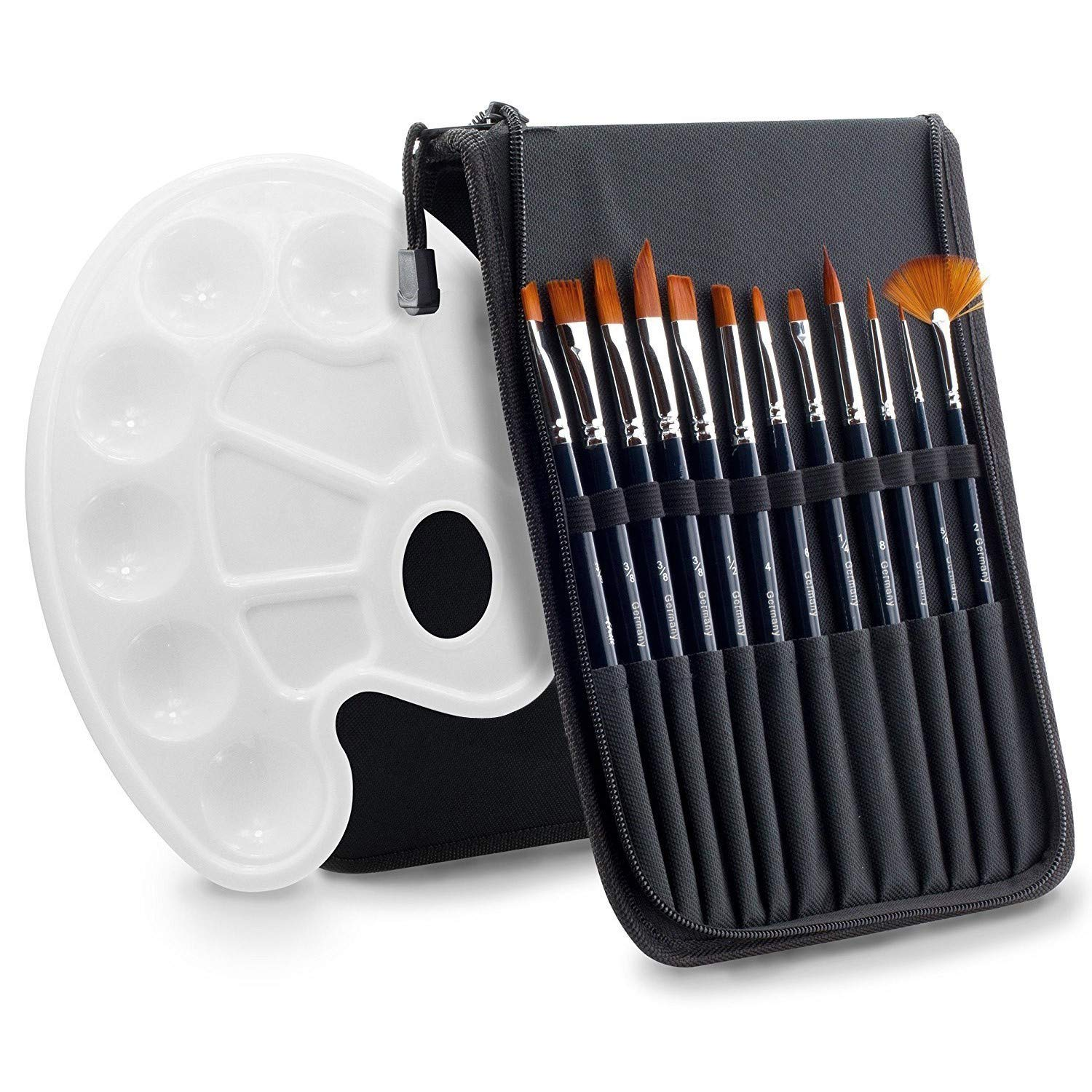 Art Paint Brushes Set 12 Pieces - AMAGIC Nylon Professional Watercolor Brushes for Acrylic Oil Painting with 1 Bonus Free Paint Tray Palette (Black) by Amagic