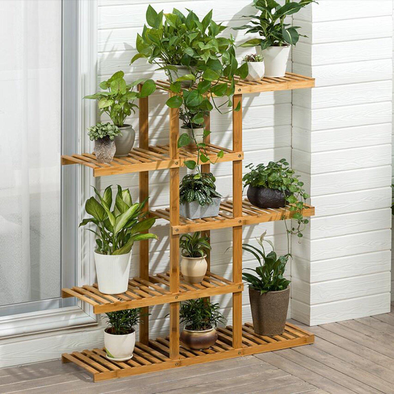 Magshion Wooden Flower Stands Plant Display Rack Choose 3 4 5 6 Shelf (5 Shelf)