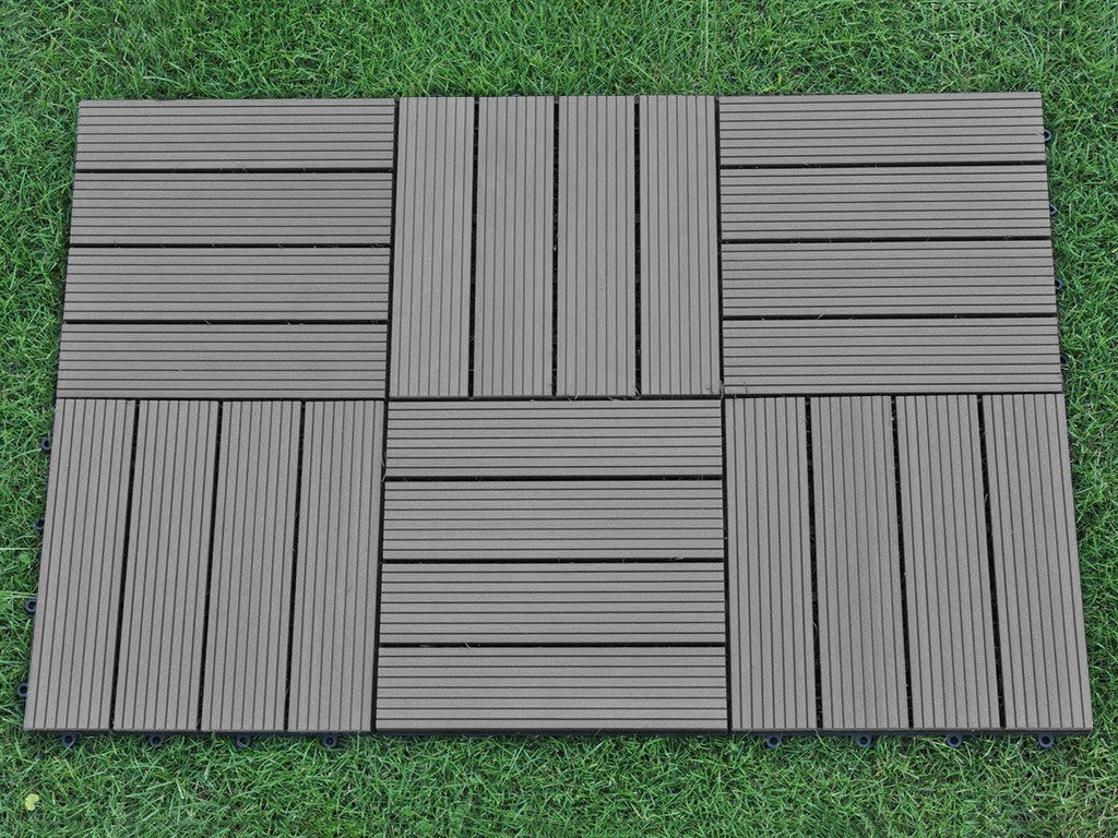 Amazon.com: Abba Patio Interlocking Flooring Decking Tiles Outdoor Four  Slat Wood Plastic Composite Tile 12 X 12 Inch, 6 Pieces One Pack Covers 6  Sqft: Home ...