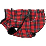 Doggie Design Tough, Waterproof Outer Polyester Alpine All-Weather Dog Coat with Reflective Night Safety Straps and Trim - Flannel Red and Green Plaid