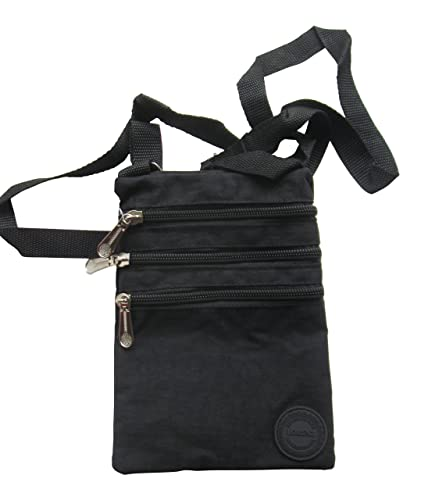 9d1e881f14b9a Ladies Crinkled Nylon Small Cross Body Bag Organiser - Black  Amazon ...