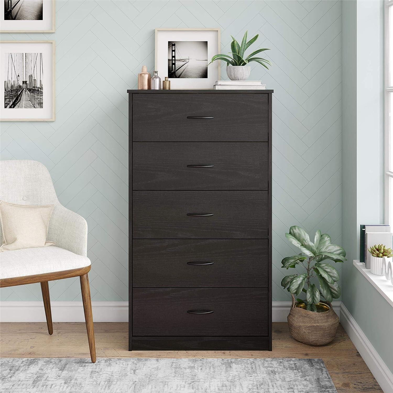 Mainstays Classic 5 Drawer Dresser (Black Oak): Kitchen & Dining