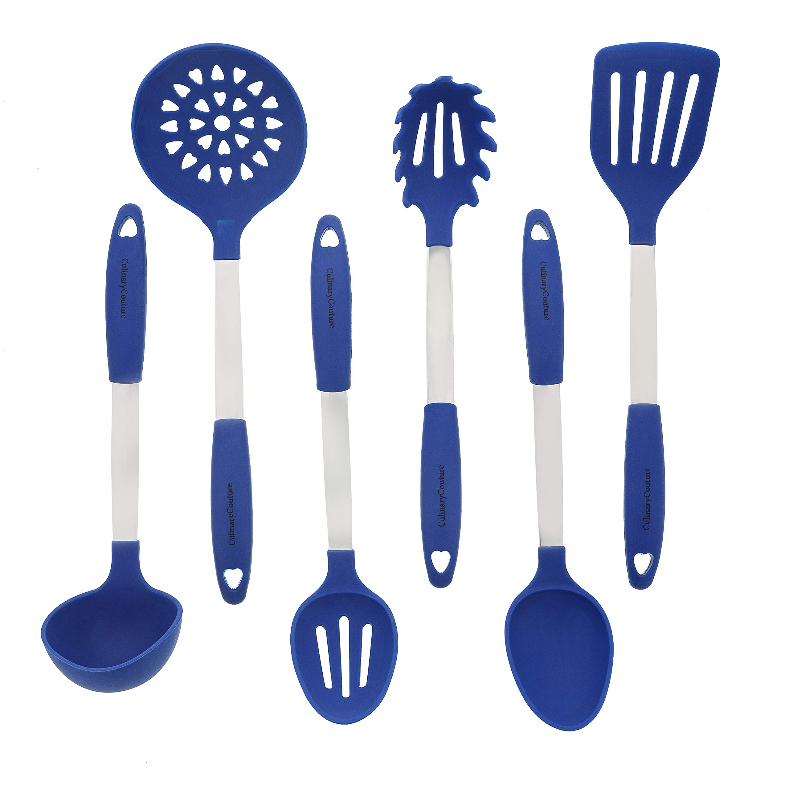 Blue Kitchen Utensil Set - Stainless Steel & Silicone Heat Resistant Professional Cooking Tools - Spatula, Mixing & Slotted Spoon, Ladle, Pasta Fork Server, Drainer - Bonus Ebook! by Culinary Couture