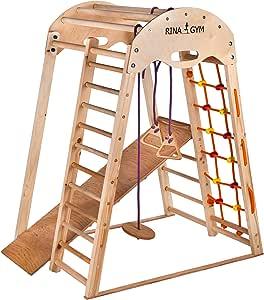 RINAGYM Gimnasio Juegos - De Madera para Interior yEscuela - Niños de 1 a 5 años y + - Red para Escalar, Escalera Sueca, Anillos Columpios, Tobogán - Marco Seguro de Madera Abedul - Capacidad 60kg: Amazon.es: Hogar