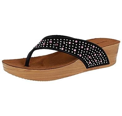 915ee58b7bc57 Dunlop Ladies Toe Post Low Wood Effect Wedge Fit Flip Flops Slip On  Diamante Gem Sandals