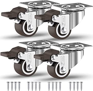 GBL - 1'' Small Caster Wheels + Screws 90Lbs | Low Profile Castor Wheels with Brakes | Dolly Wheels for Furniture Trolley Hardwood Floors