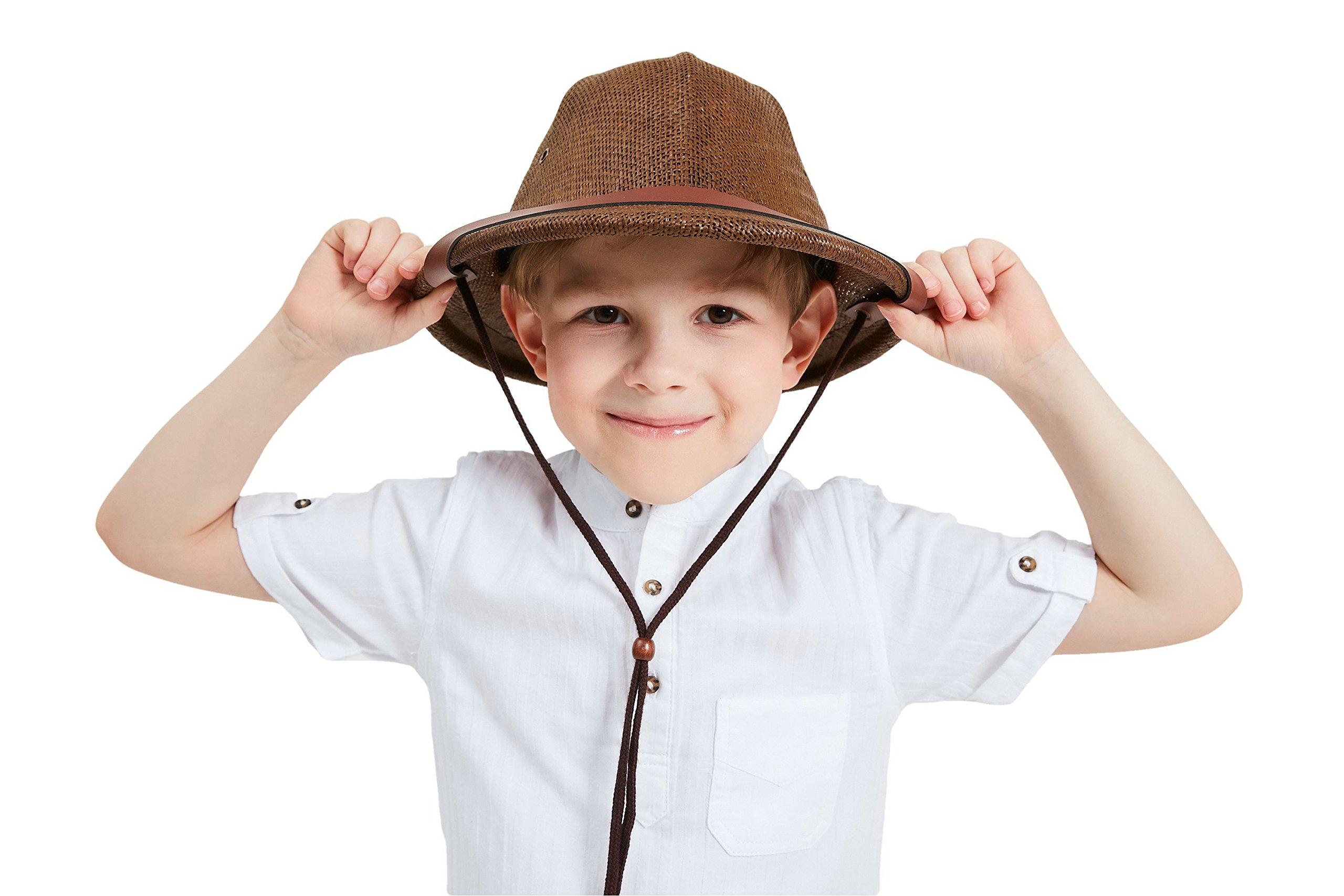 kainozoic Helmet Kids Safari Costume Party Hat Biking Hiking Camping Jungle Explorer Cap Chocolate Brown Gift for Boy