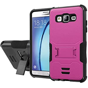 Galaxy [On5] Armor Case [NakedShield] [Black/Black] Urban Shockproof Defender [Kick Stand] - [Hot Pink] for Samsung Galaxy [On5]