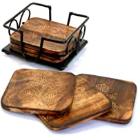 StonKraft Fancy Mango Wooden Tea Coffee Coasters/Coaster Set/Coasters Set with Wrought Iron Holder