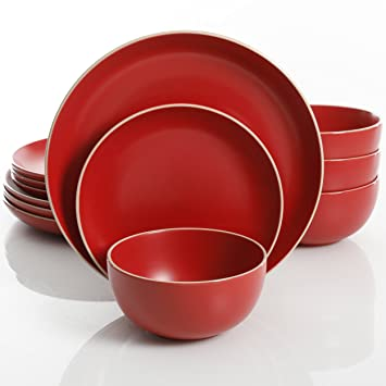 Gibson Home Rockaway 12-Piece Dinnerware Set Service for 4 Red Matte  sc 1 st  Amazon.com & Amazon.com | Gibson Home Rockaway 12-Piece Dinnerware Set Service ...