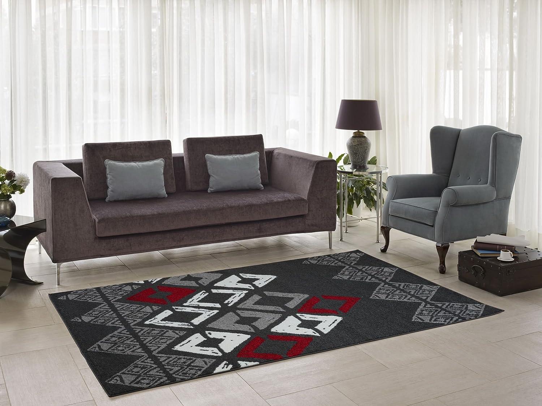 Flash Grey Geometric Modern Contemporary Soft Rug for Living Room Hallway (2'7 x 4'11) Ladole Rugs