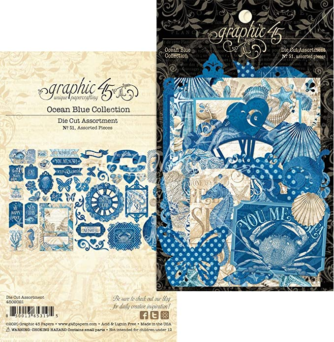 Ocean Blue Ephemera and Journaling Cards 32//pk Mixed Media Graphic 45