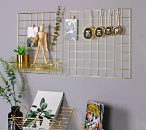 "SIMMER STONE Gold Wall Grid Panel for Photo Hanging Display & Wall Decoration Organizer, Multi-Functional Wall Storage Display Grid, 10 Clips & 4 Nails Offered, Set of 1, Size 17.7""x37.4"""