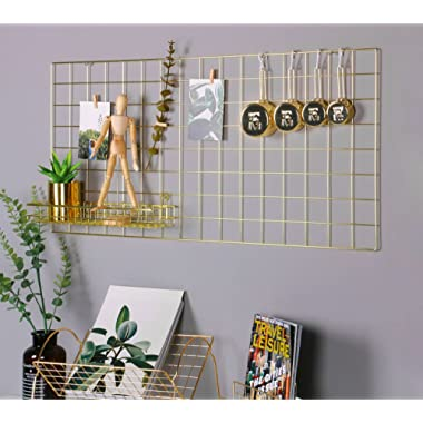 Simmer Stone Gold Wall Grid Panel for Photo Hanging Display & Wall Decoration Organizer, Multi-Functional Wall Storage Display Grid, 10 Clips & 4 Nails Offered, Set of 1, Size 17.7 x37.4