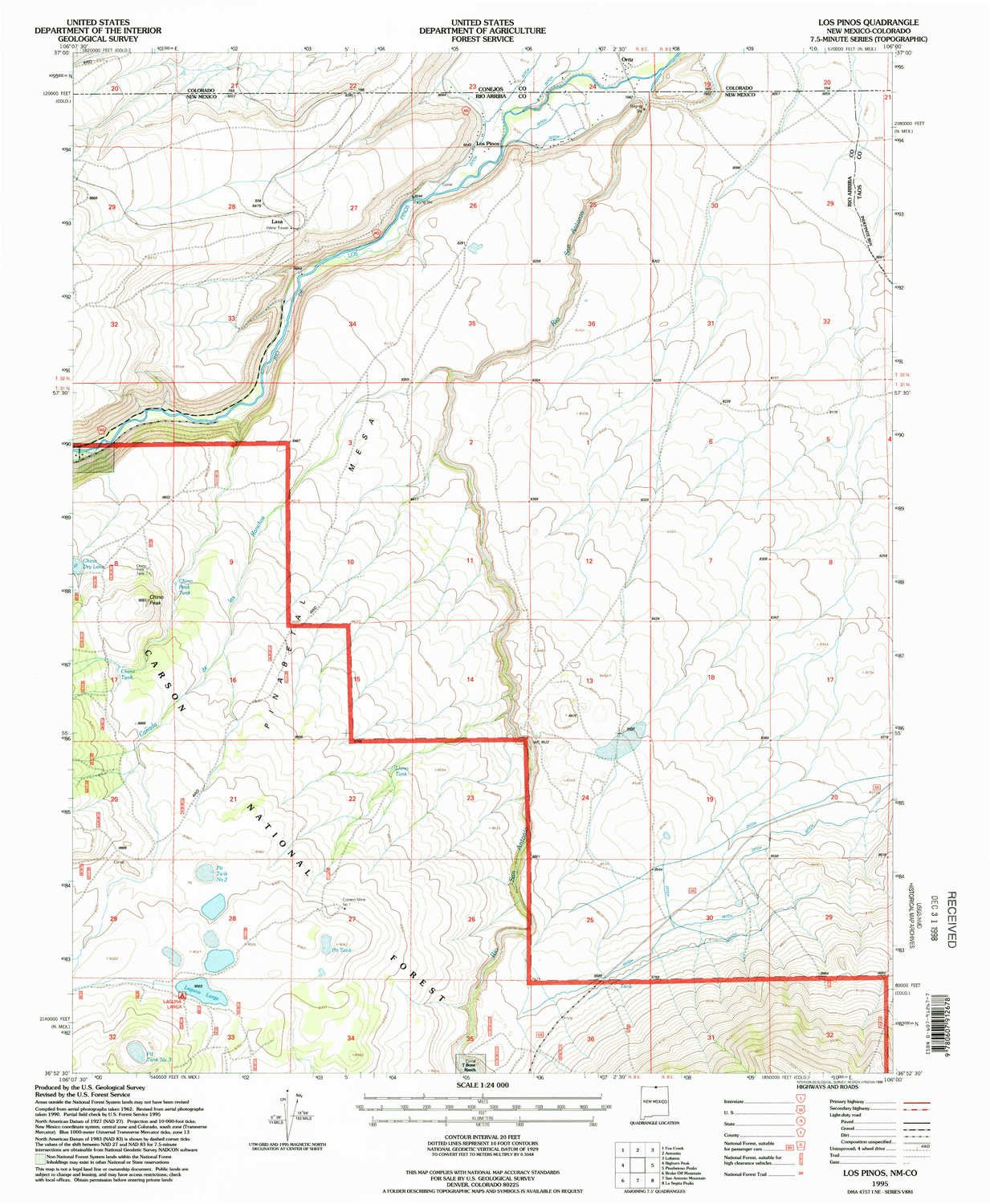 Amazon YellowMaps Los Pinos NM topo map 1 Scale 7 5 X