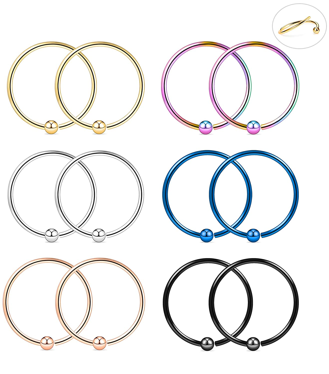 Tornito 6 Pairs 18G-16G 316L Stainless Steel Nose Ring Hoop Septum Lip Daith Cartilage Helix Tragus Piercing Ring 8MM NP10M-18G