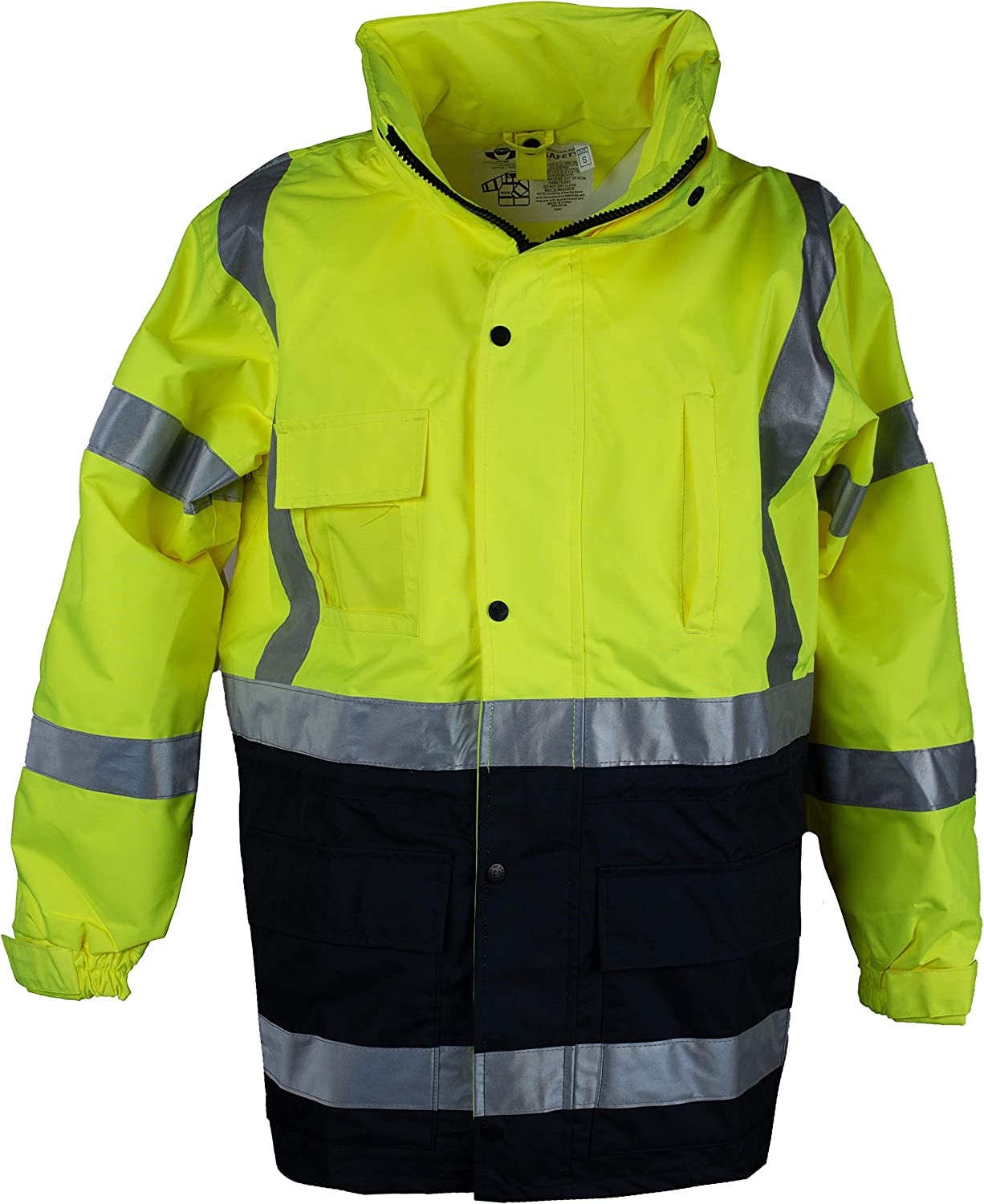 Safety Depot Two Tone Lime Yellow Black Reflective Class 3 Safety Parka Jacket With Zipper and Pockets 736c-3 4XL