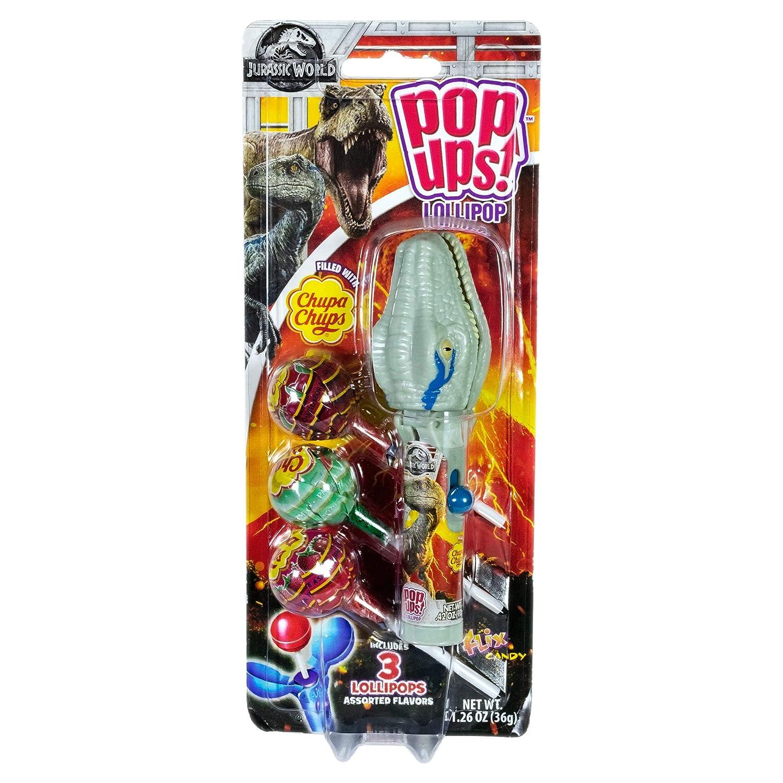NEW Flix Candy Pop Ups Lollipop Jurassic World GRAY DINOSAUR Chupa Chups