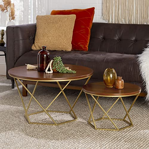 Walker Edison Furniture Company Modern Round Nesting Coffee Accent Table Living Room
