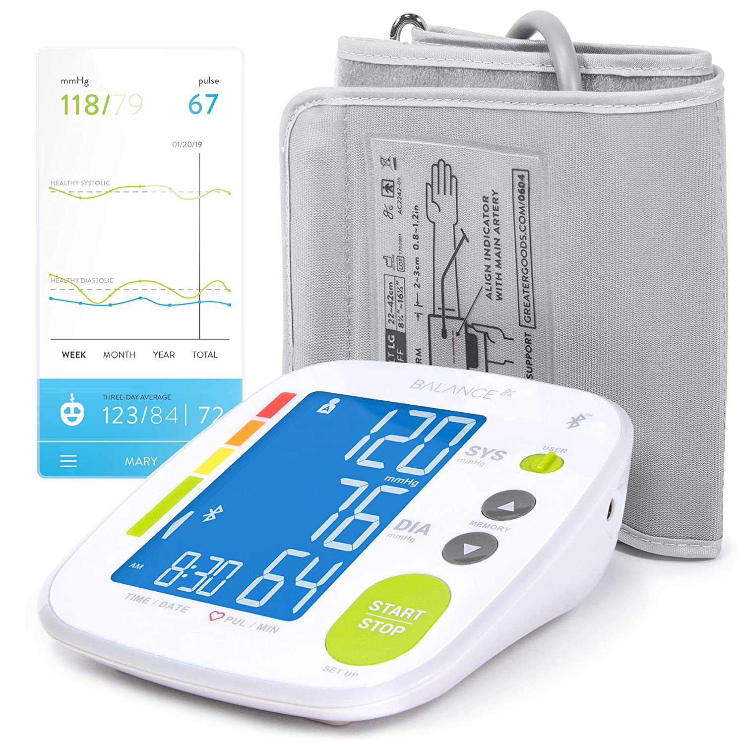 Smart Blood Pressure Monitor Cuff by GreaterGoods, Free App Smart Connected BP Monitor, Upper Arm Cuff, with Large Digital Display, Kit Complete with Soft Case Renewed