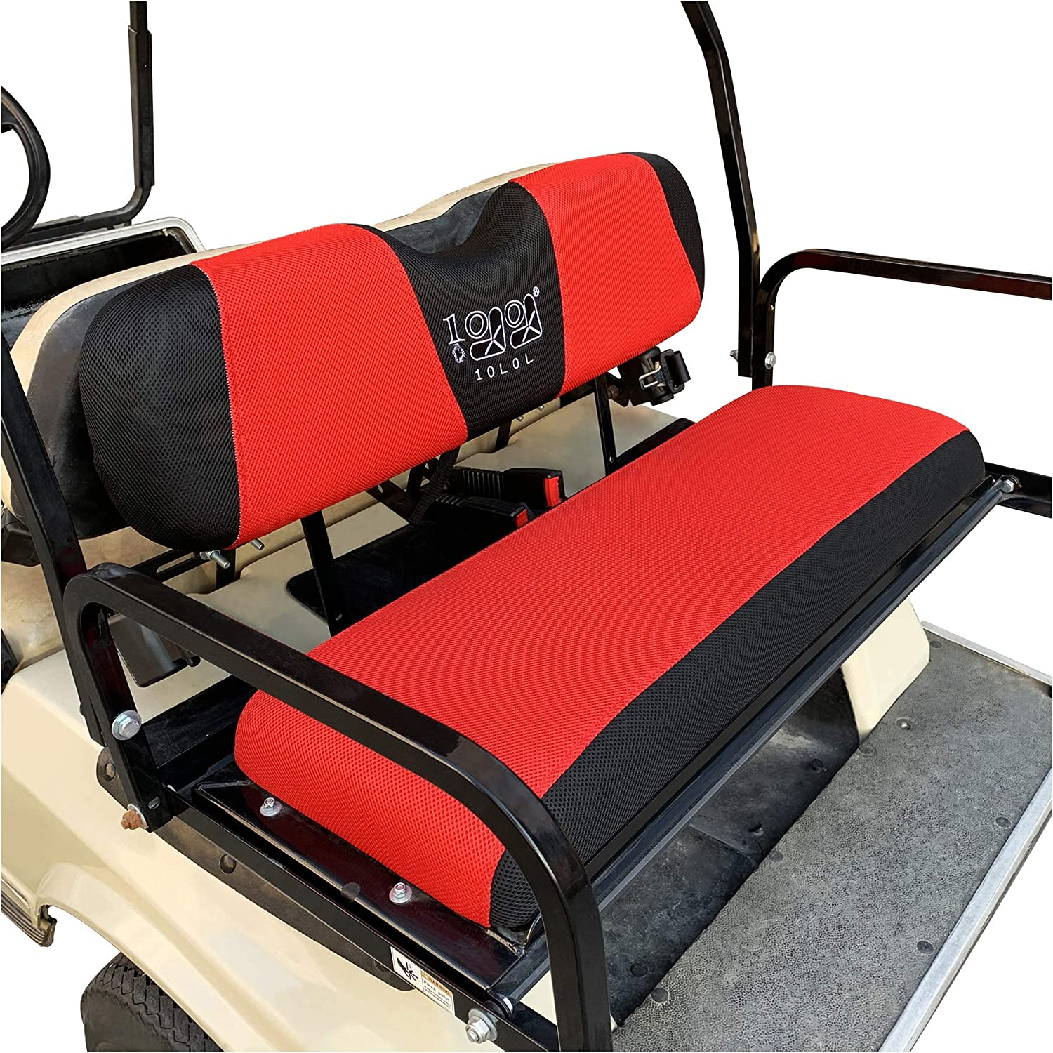 9.99WORLD MALL Golf Cart Rear Seat Cover Set Fit for Club Car EZGO Yamaha, Warm Bench Seat Covers for Cold Winter Weather, Breathable Washable Polyester Mesh Cloth Gray Black Beige Red