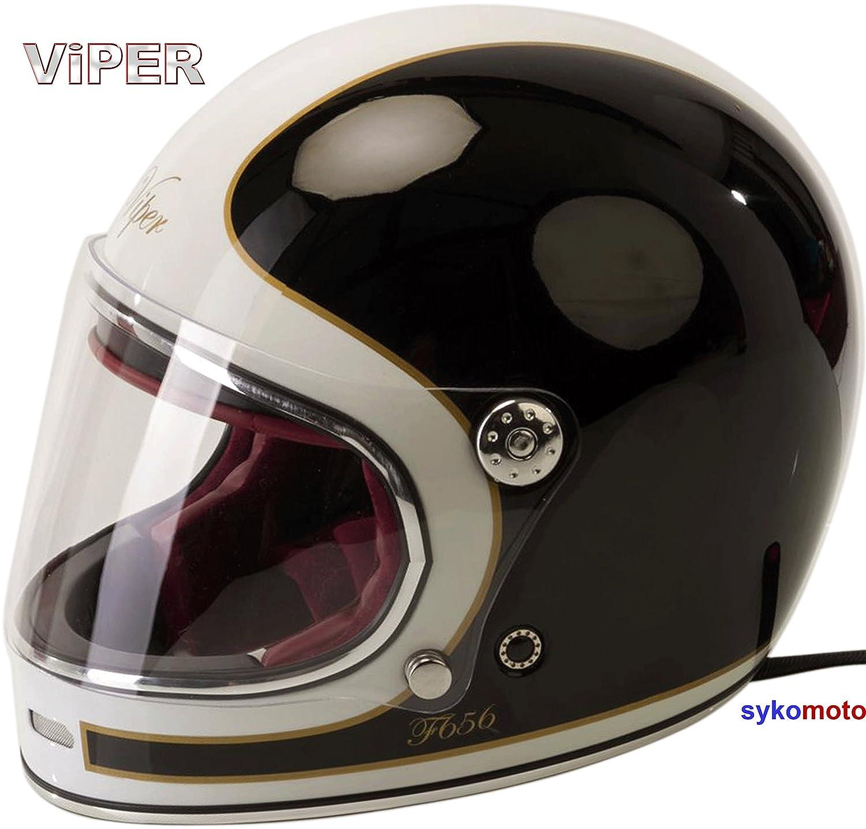 Viper Moto F656 INTEGRAL ESTILO RETRO VINTAGE CLASSIC TRACK GRINGO CUSTOM CHOPPER BOBBER CASCO DE FIBRA DE VIDRIO BLANCO NEGRO M 57-58 CM
