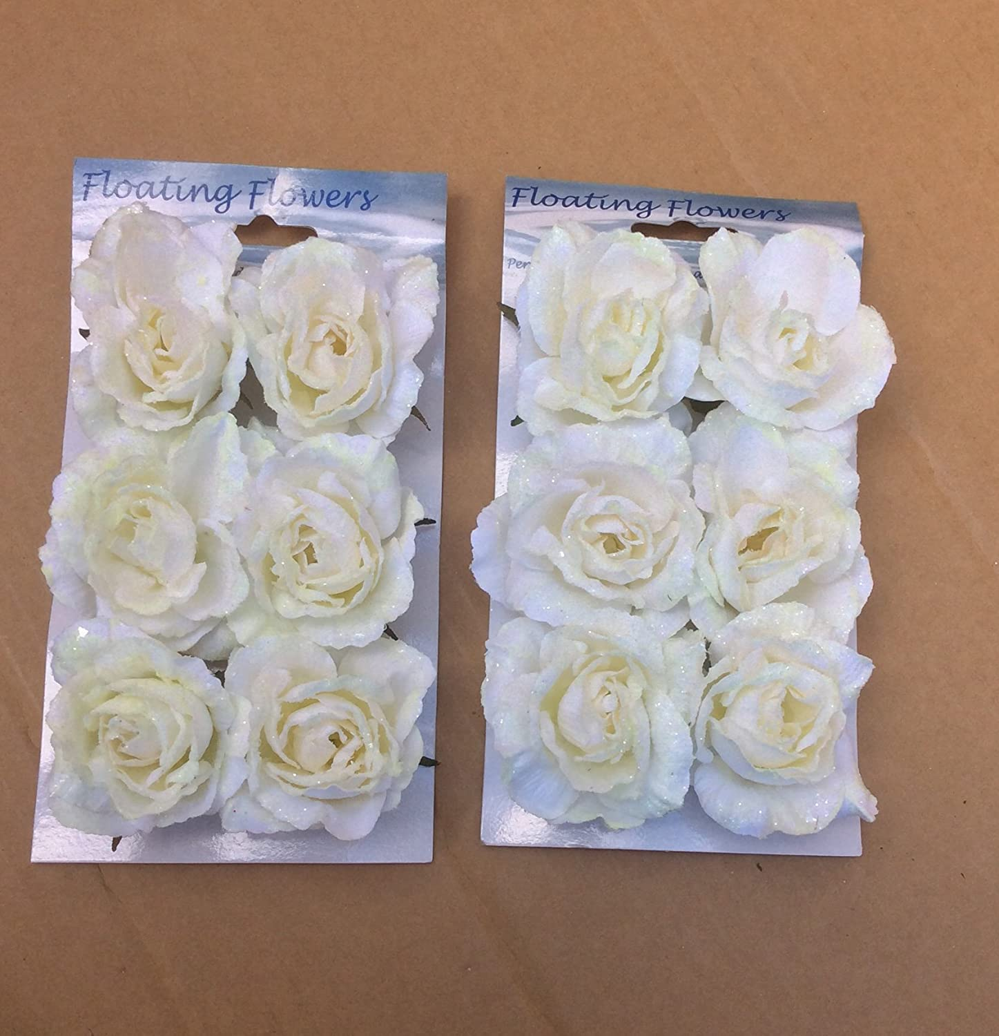 Pack X12 Floating Roses Creamwhite Artificial Silk Flowers Wedding