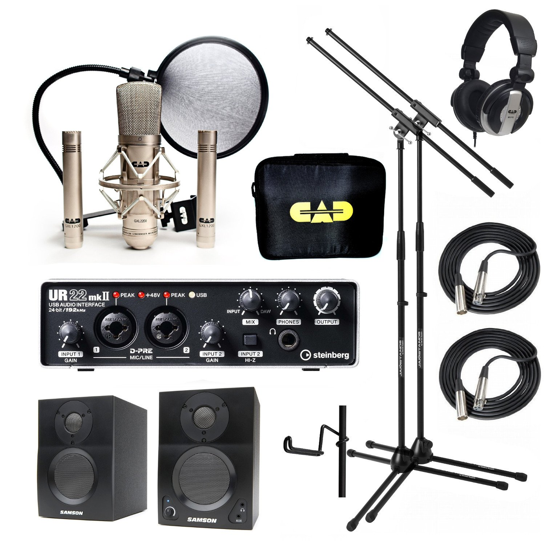 Home Recording Studio Bundle CAD GXL2200SSP MH110 Stands Steinberg UR22MKII Samson Media ONE BT3 Speakers by CAD