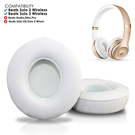6e3a4a93cba Amazon.com: Wicked Cushions Beats Solo 2 & 3 Earpad Replacement - Beats Solo  Cushion Replacement for Solo 2 & 3 Wireless On Ear Headphones | White: ...