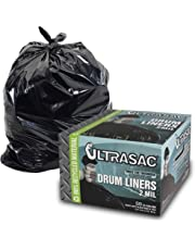 Heavy Duty 55 Gallon Trash Bags - (Large 50 Pack/w Ties) - 2 MIL Industrial Strength Plastic Drum Liners 38' x 58' Professional Black Garbage Bags for Construction, Contractors, Leaf, Yard